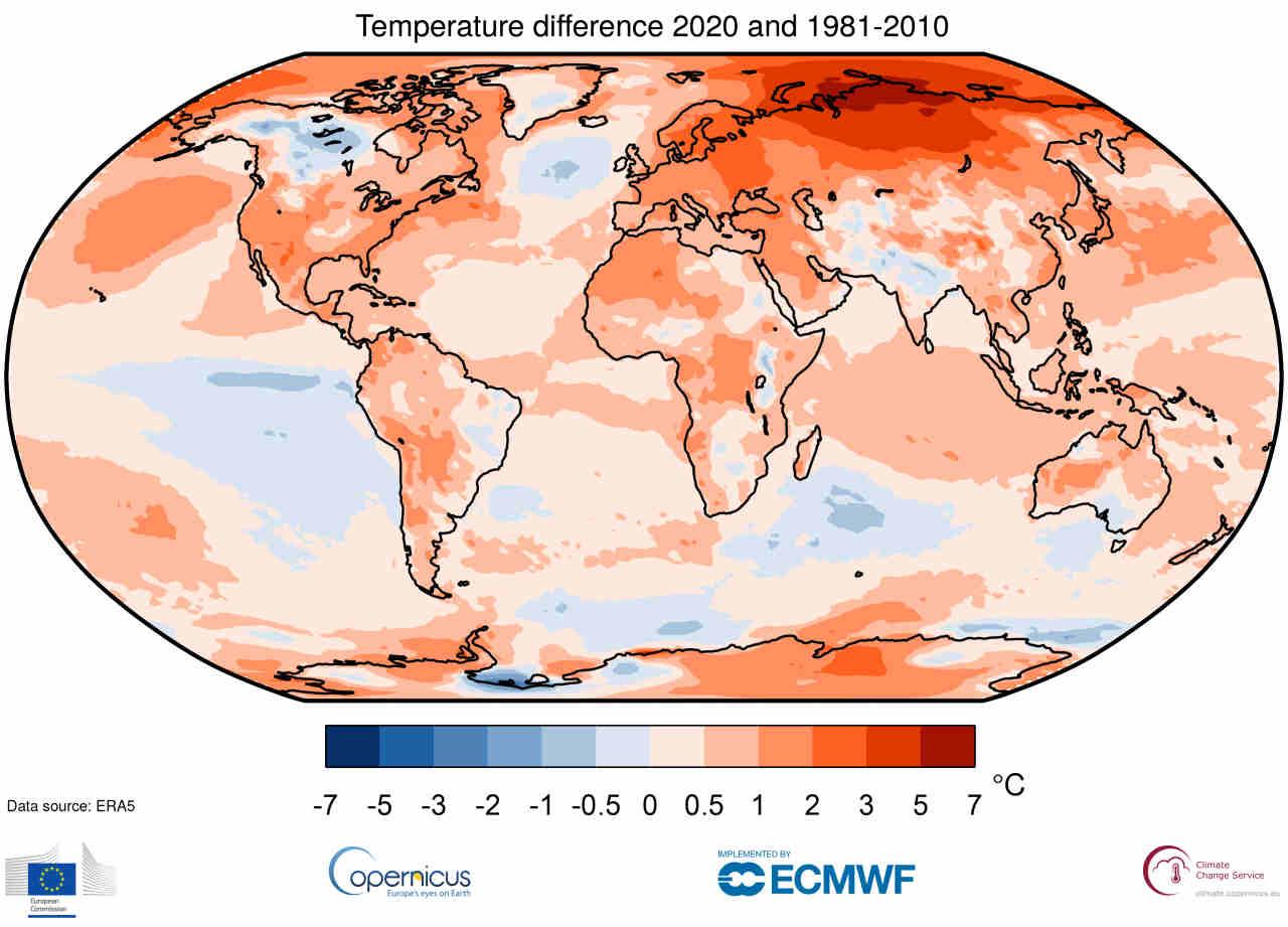 anomalie termiche 2020 pianeta - Emergenza clima: 2020 l'anno più caldo di sempre, in un meteo estremo