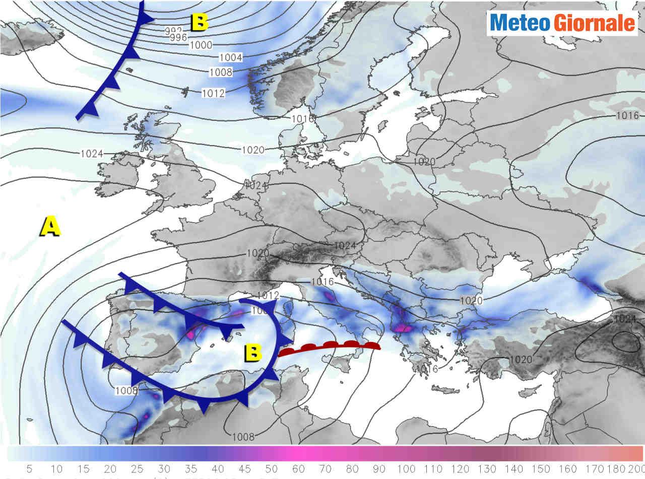 evoluzione meteo per domani 09 01 2021 - TEMPESTA di Neve spagnola verso Italia. Effetti sul meteo