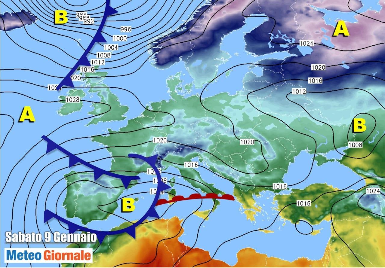 evoluzione meteo per domani 9 gennaio 2021 - Filomena, ciclone Mediterraneo arriva dalla Spagna. Conseguenze meteo sull'Italia