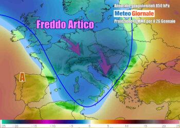 Le anomalie termiche a 850 hPa riferite a martedì 26 gennaio, momento in cui irromperà l'aria più fredda su tutta Italia