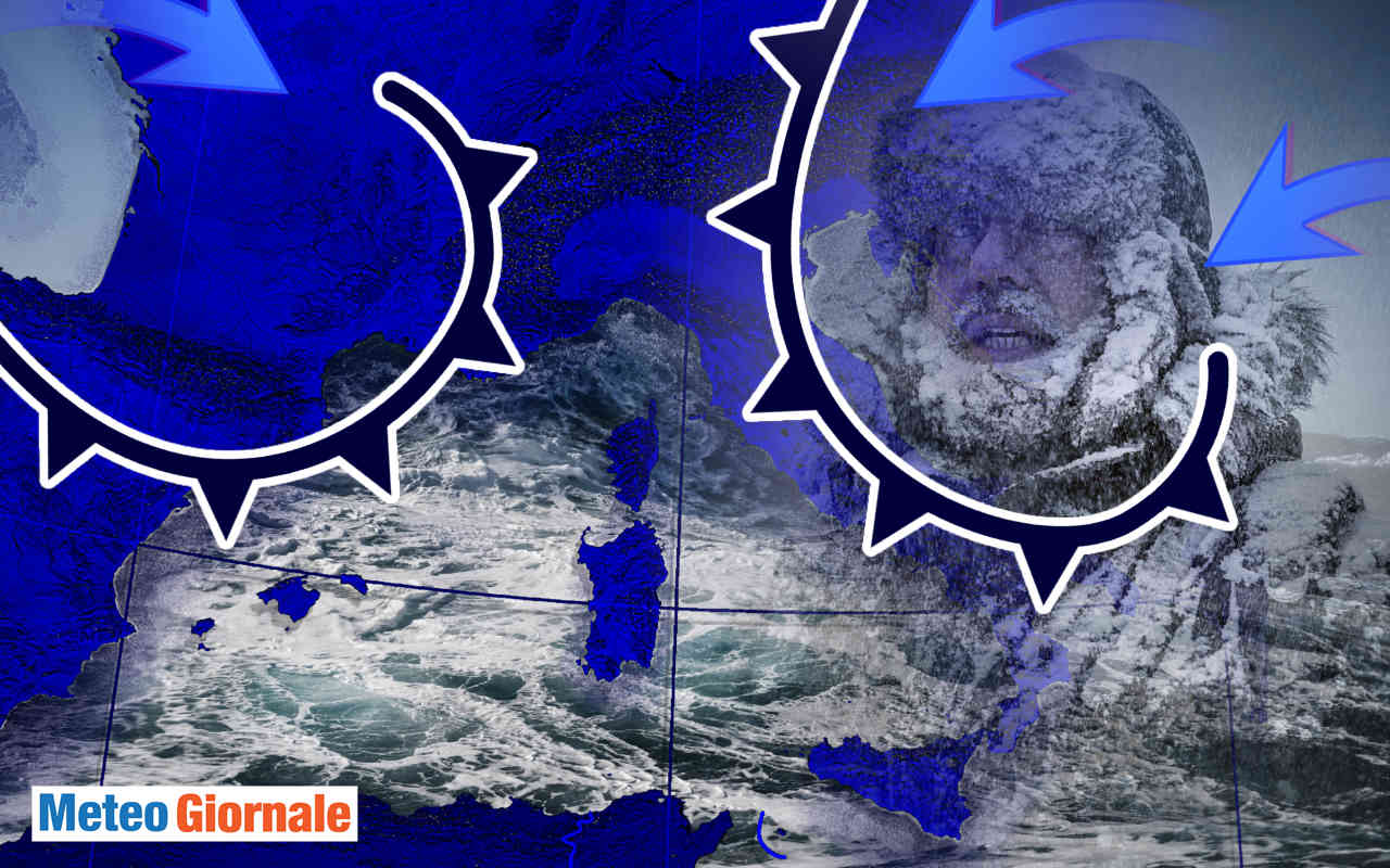 meteo rabbioso tra freddo e burrasche oceaniche 02 - Meteo invernale con venti d'Atlantico, ma il Freddo Polare spinge