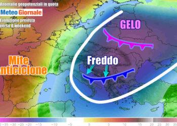 Lo scenario del freddo in arrivo sull'Italia, con gelo sull'Est Europa
