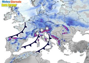 Previsioni meteo neve Europa.