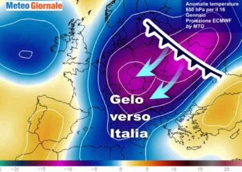 Evoluzione meteo attorno a metà mese. Le anomalie termiche previste a 1500 metri