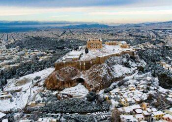 Neve su Atene, foto di repertorio.