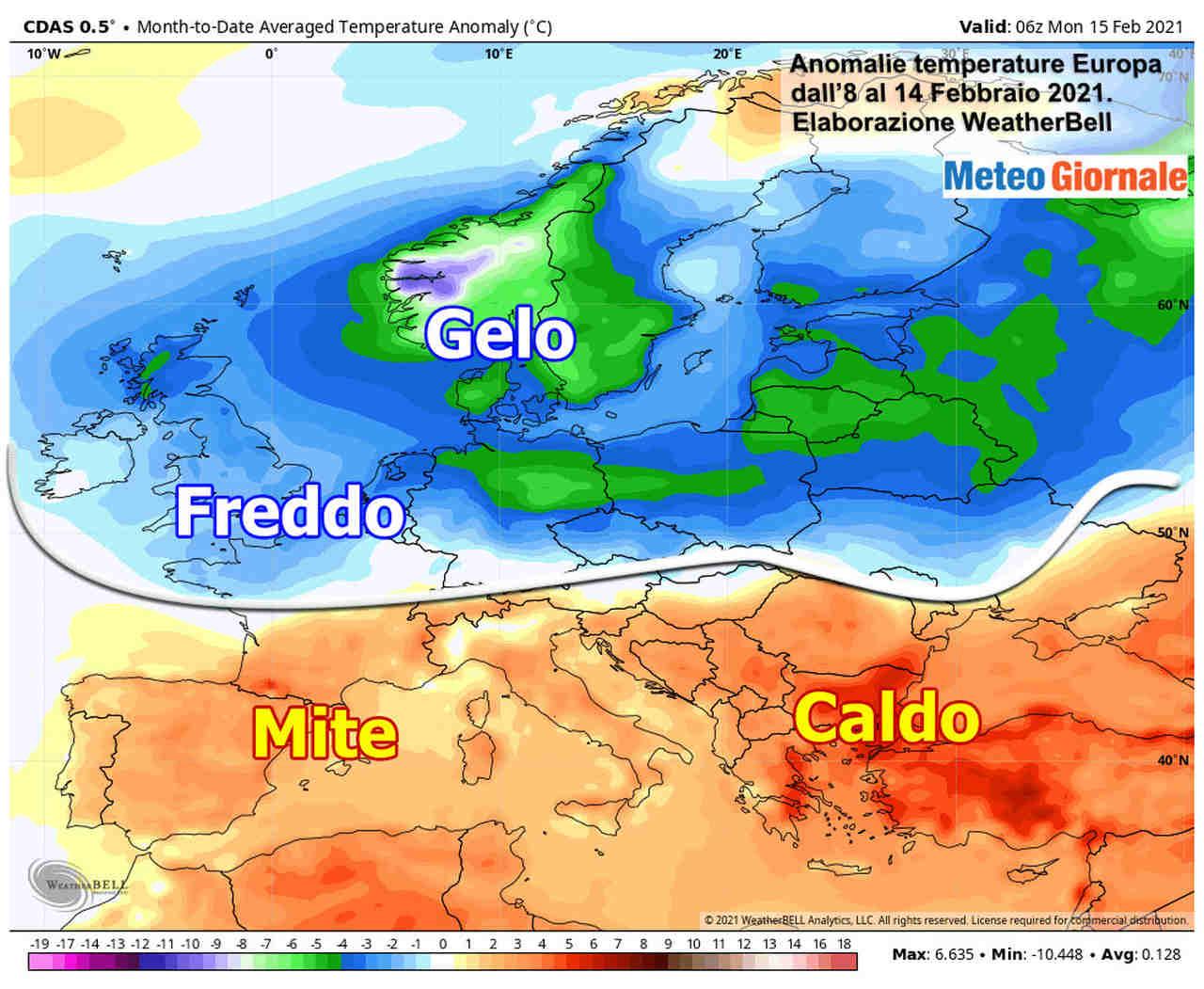 anomalie termiche 8 14 febbraio - Clima ultima settimana, che anomalie: oltre mezza Europa con GRANDE FREDDO