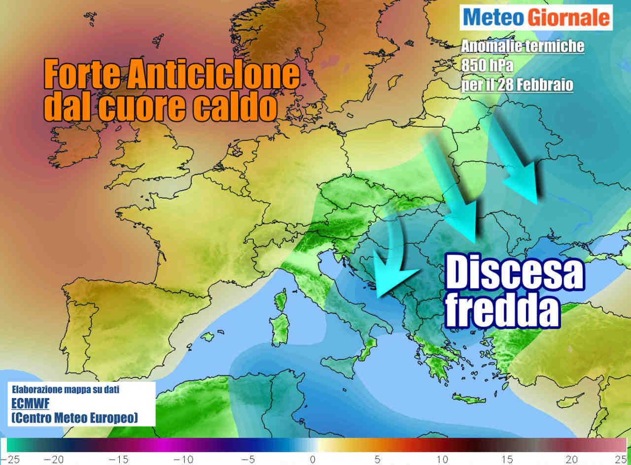 anomalie termiche fine febbraio - Meteo weekend, importanti novità! Anticiclone in crisi, fronte freddo da nord