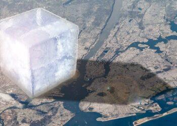 La proporzione di un cubo di ghiaccio alto 10 chilometri, che testimonia quella che è solo parte della perdita annua