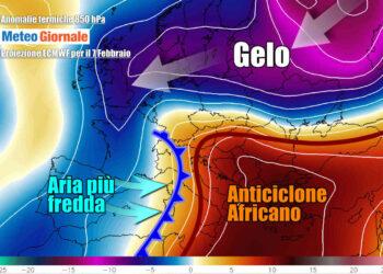 Evoluzione prevista per domenica 7 febbraio, con l'avanzata dell'aria più fresca da ovest