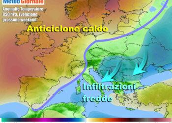 Evoluzione nel corso del weekend, con l'anticiclone che lascerà spazio ad interferenze d'aria più fredda da nord/est