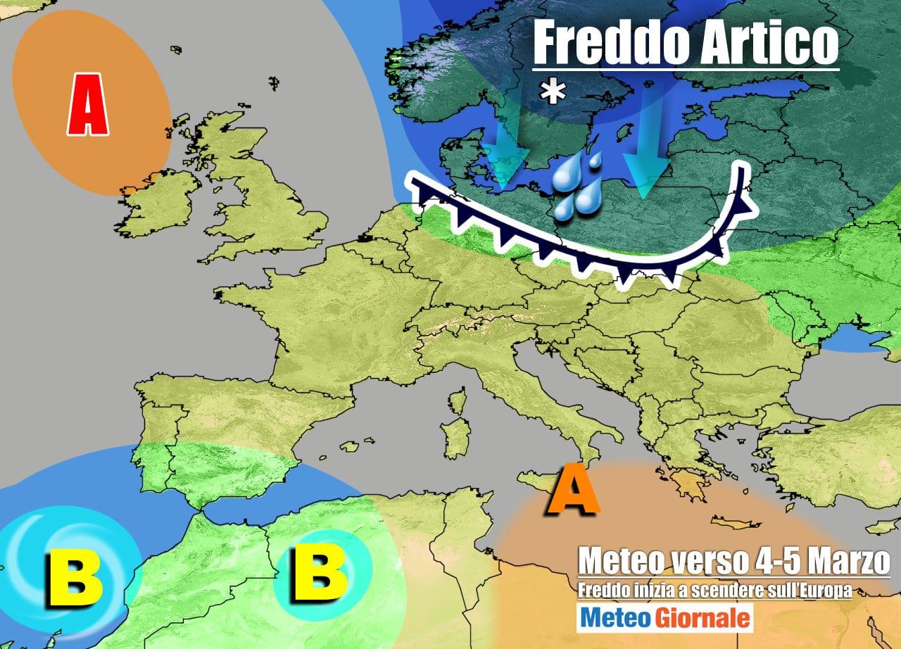 meteogiornale 7 g 26 - METEO Italia sino 7 Marzo. Dall'anticiclone al brusco ritorno dell'inverno