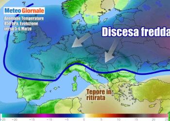 Evoluzione meteo attesa tra giovedì e venerdì, con l'approssimarsi d'aria più fredda verso l'Italia