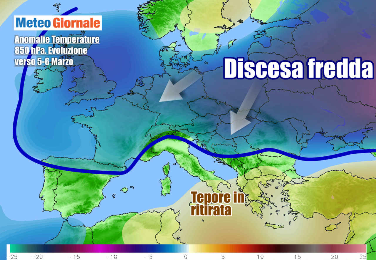 meteogiornale 7 g 27 - METEO Italia. Ancora tepore, ma dopo metà settimana tornerà l'inverno