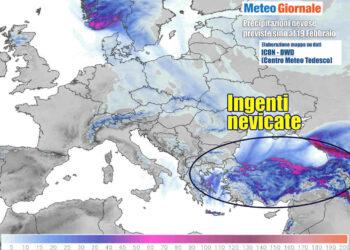 Le nevicate copiose tra il Mar Nero ed il Mediterraneo Orientale