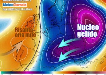Le anomalie termiche previste tra sabato e domenica, con ingerenza decisa del freddo russo sull'Italia