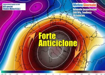 Arriva l'anticiclone, che potrebbe durare a lungo, come in questa ipotesi di tendenza prospettata da GFS per il 20 Febbraio