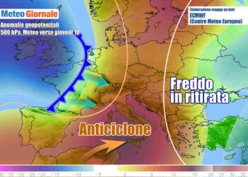 Anticiclone e correnti oceaniche verso l'Italia