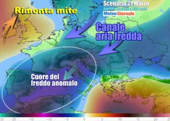 Le anomalie termiche a 1500 metri, riferite alla situazione, descrivono la situazione fortemente anomala sull'Italia e sul Mediterraneo