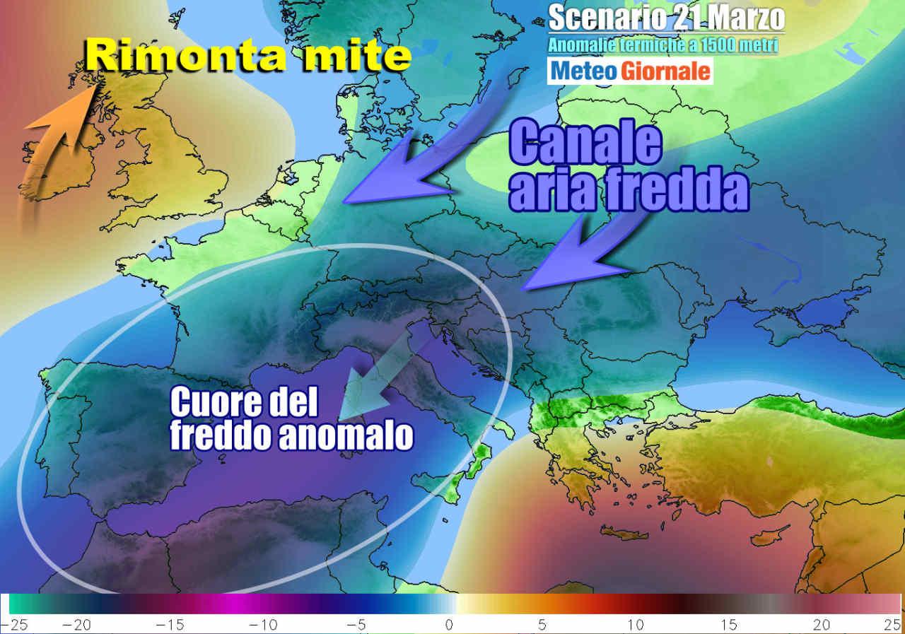 anomalie 21 marzo - Italia è il cuore del gelo in Europa, grandi anomalie. Ribaltone in vista