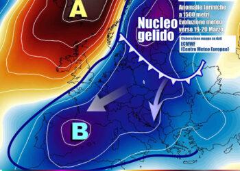 Evoluzione tra il 19 e il 20 marzo, con discesa d'aria ancor più fredda su gran parte d'Europa