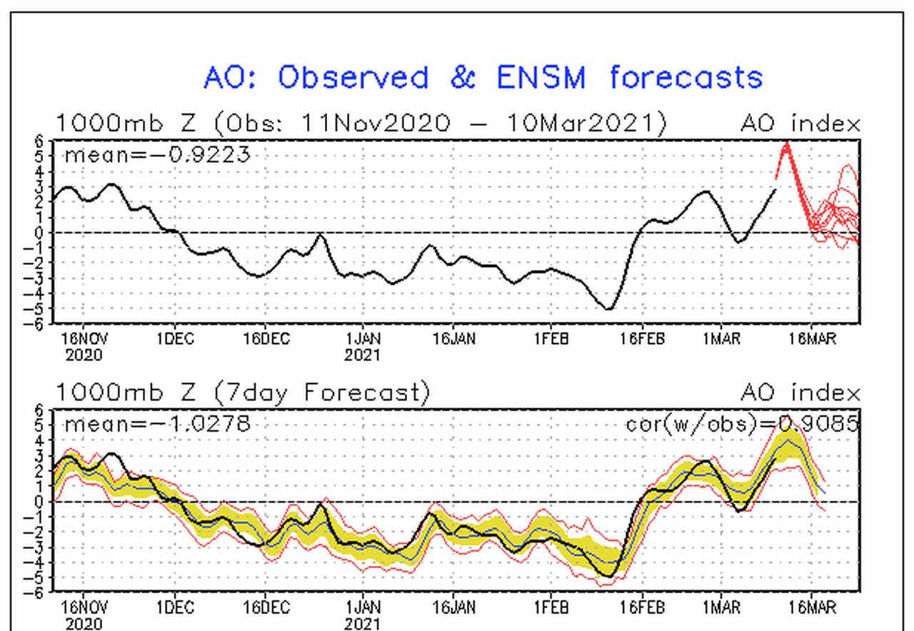 ao index - Vortice Polare ballerino, i perché del previsto ritorno del meteo invernale