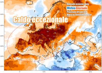 Temperature roventi per il periodo in Europa anche nella giornata di oggi, 31 marzo. La mappa evidenzia le anomalie climatologiche e spicca il gran caldo in gran parte d'Europa