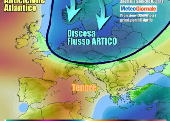 Scenari per inizio aprile, con aria fredda in discesa sull'Europa poco prima di Pasqua