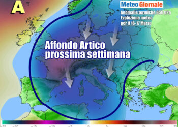 Le anomalie termiche previste a 1500 metri di quota nella prima parte della prossima settimana