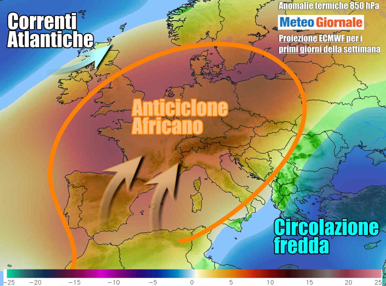 meteo inizio settimana 1 - METEO Italia. Anticiclone disturbato nel weekend, poi caldo africano