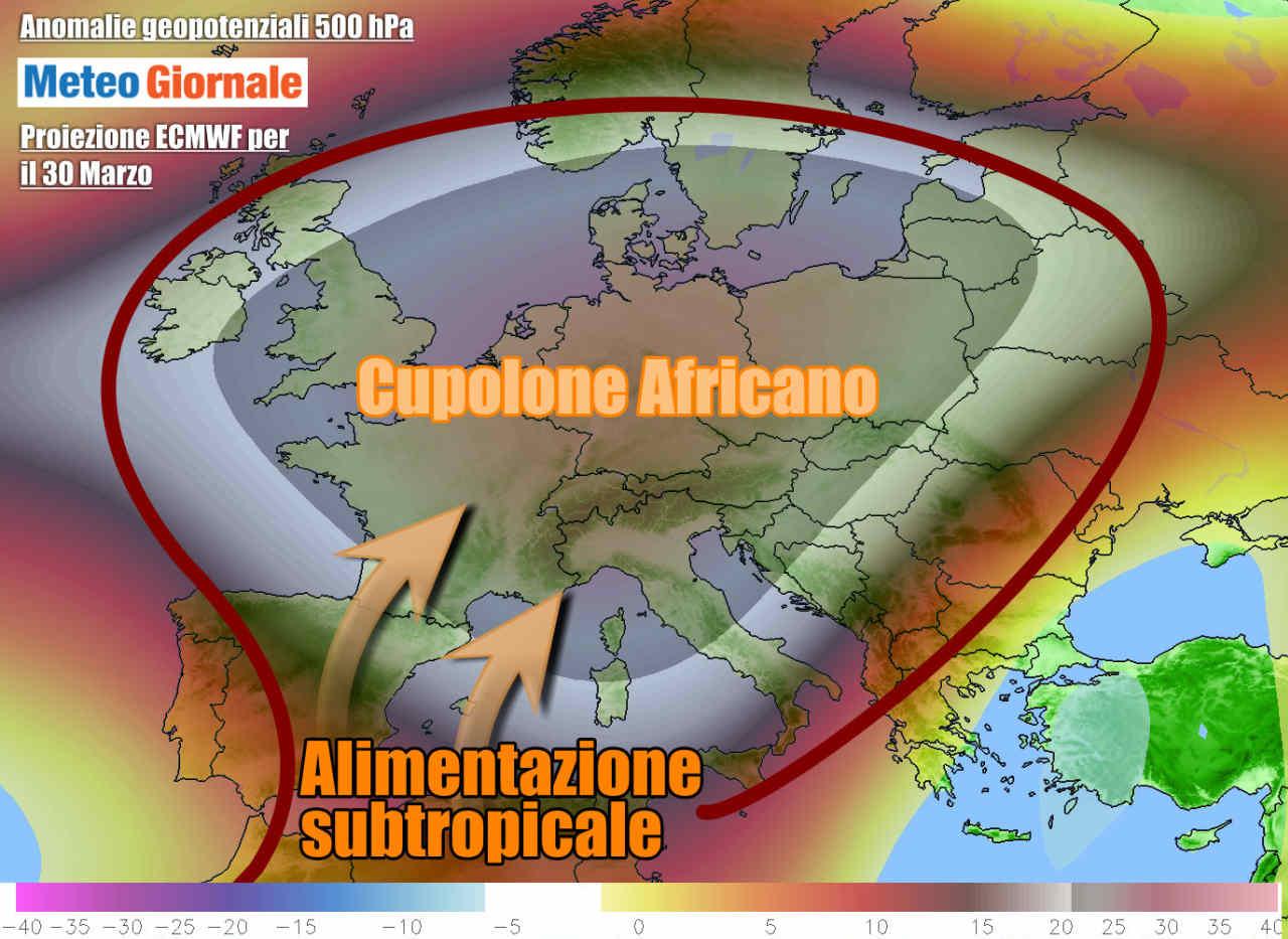 meteogiornale 7 g 25 - METEO Italia. Esplode il primo caldo in settimana, ma a Pasqua cambia tutto