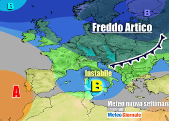 Evoluzione meteo primi giorni di settimana