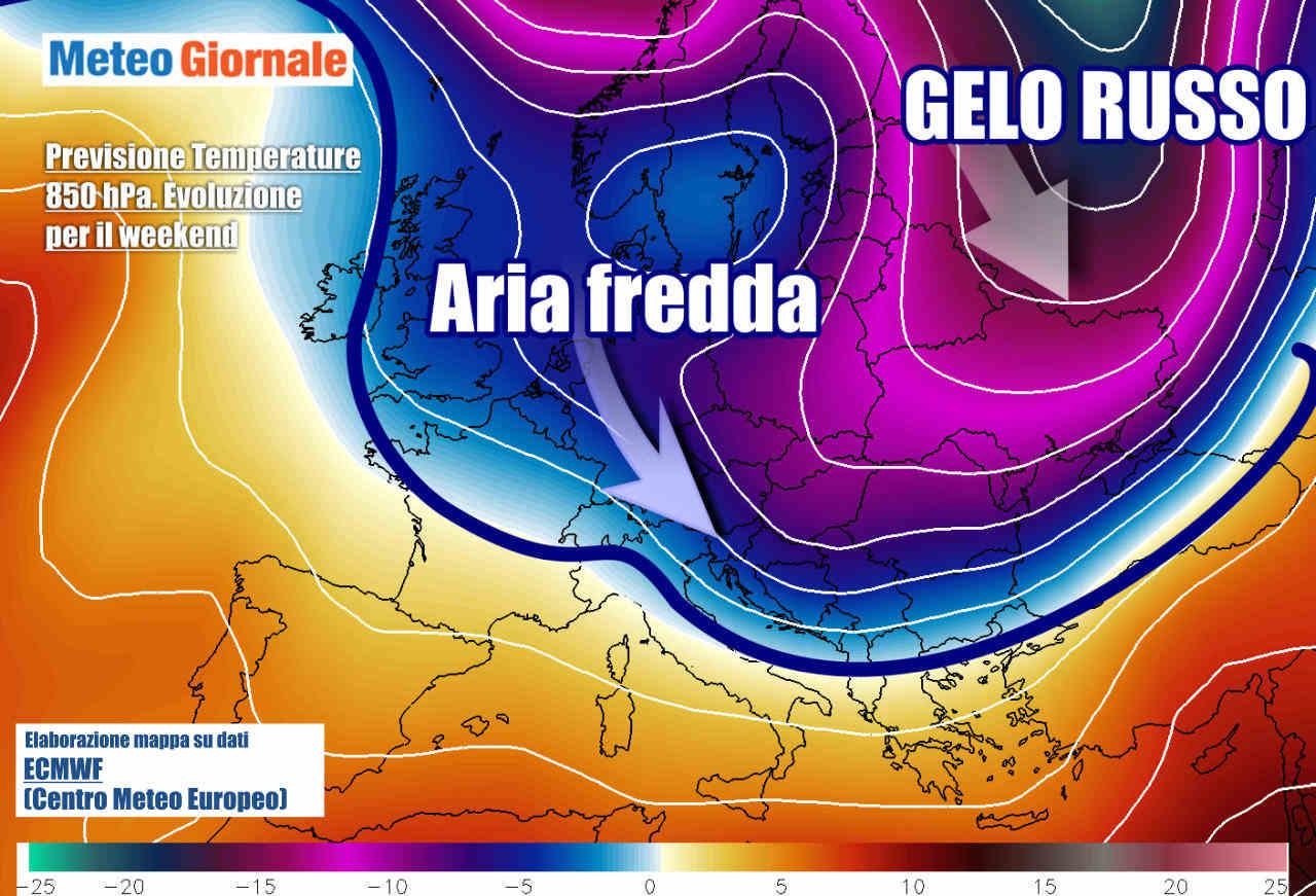 previsione weekend termiche - Stravolgimento meteo, fine settimana, colpo di coda dell'Inverno. Neve in varie località