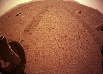 Il segno delle ruote di Perseverance lasciato sul suolo marziano (fonte: NASA)