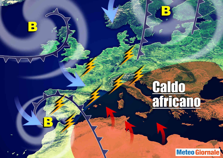 meteo con caldo africano e temporali - FIAMMATA d'Africa, pronto innesco eccessi meteo a catena
