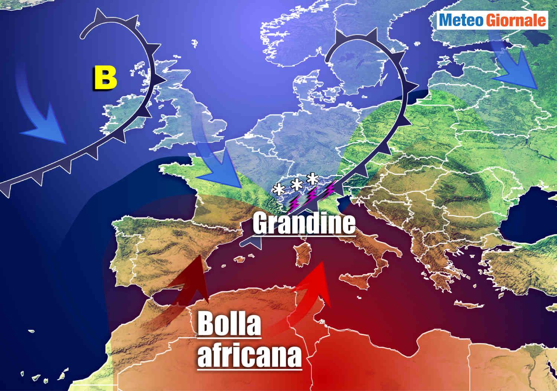 meteo fortemente instabile - Cambiamento meteo stazionale repentino: bolla calda e fredda, temporali e grandine