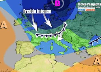Il nuovo possente affondo artico in discesa sull'Europa, nell'evoluzione attesa per la Pasquetta