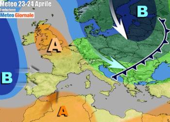 Tendenza meteo verso il fine settimana, con l'anticiclone che farà capolino verso l'Italia
