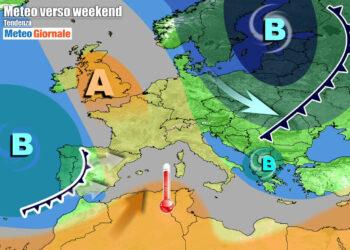 Weekend con rinforzo dell'anticiclone temporaneo verso l'Italia