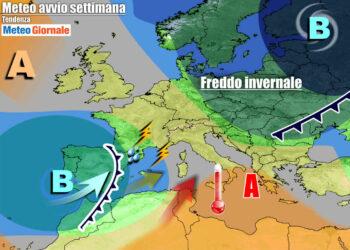 Previsioni per inizio settimana, con tempo in deterioramento da ovest