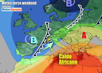 Evoluzione meteo attesa nel weekend