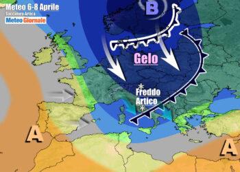 Evoluzione meteo verso metà settimana, con la penetrazione della saccatura artica anche sull'Italia