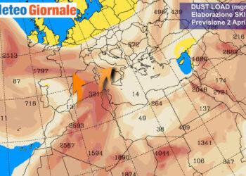 La concentrazione di polveri attesa per il 2 aprile, secondo Università di Atene