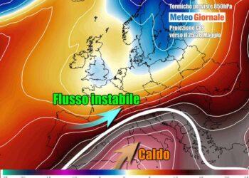 Possibile scenario meteo nel corso della prossima settimana, con l'anticiclone caldo africano su gran parte d'Italia