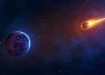Cometa in avvicinamento alla Terra. Approccio realistico.