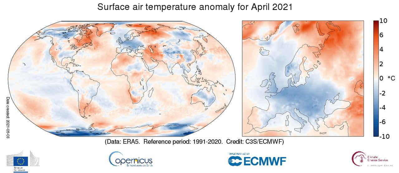 copernicus aprile 2021 - Aprile 2021 dal meteo bizzarro in Europa, mai così freddo dal 2003