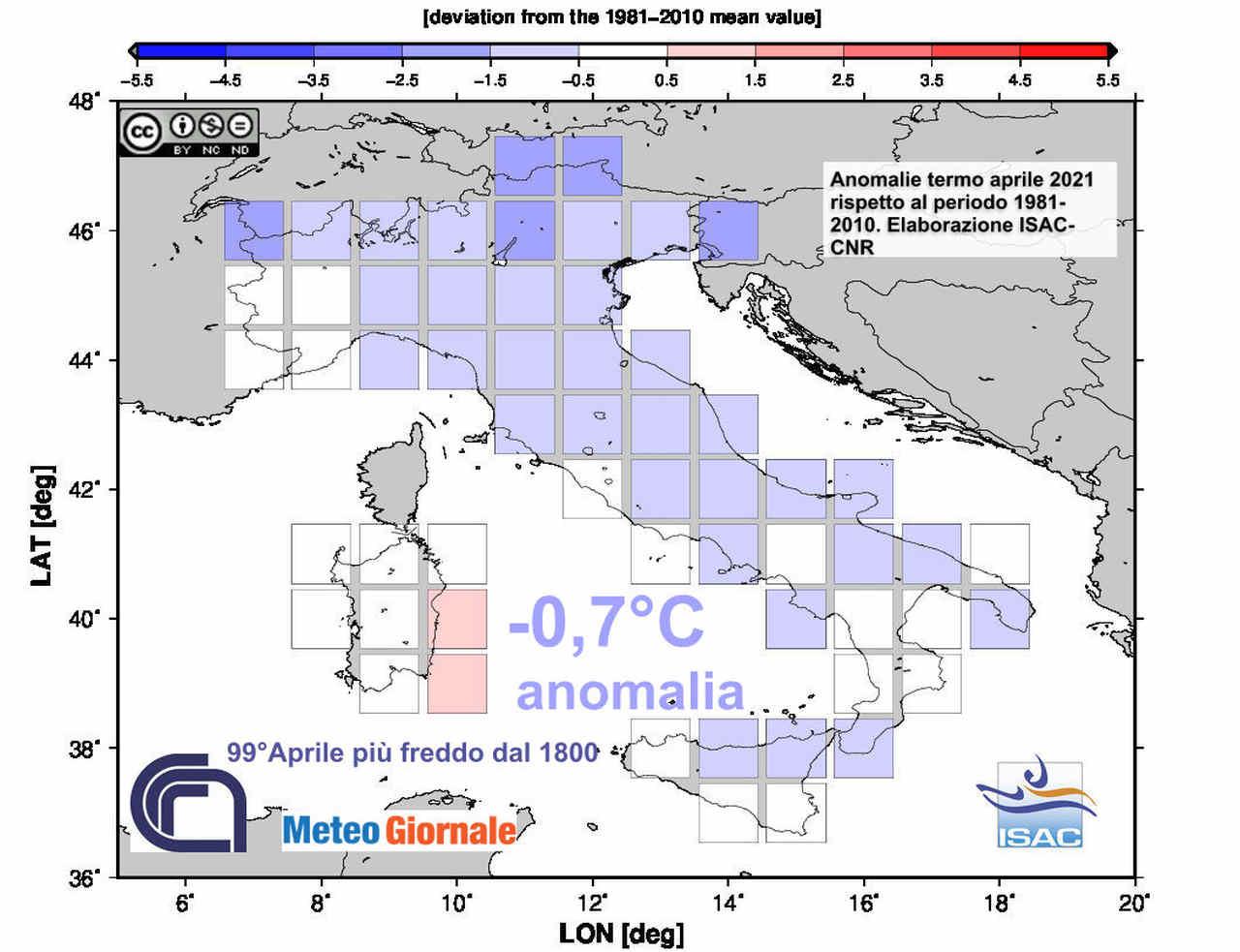 italia anomalie aprile 2021 - Meteo FREDDO ad Aprile sull'Italia. Ma può seguire ESTATE di CALDO eccessivo
