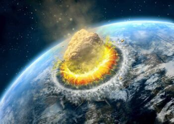 Rappresentazione di uno schianto di un ipotetico asteroide verso la Terra