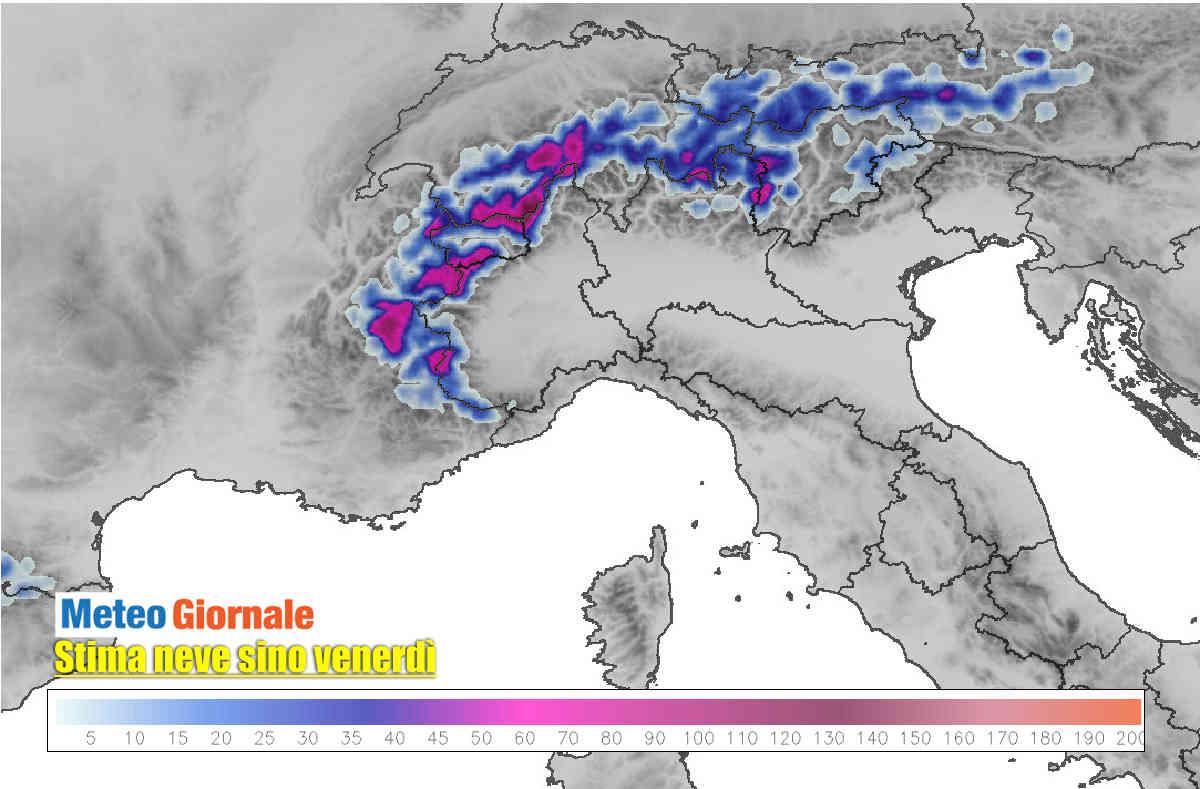 meteo alpi neve prevista - Meteo Alpi: attese forti nevicate