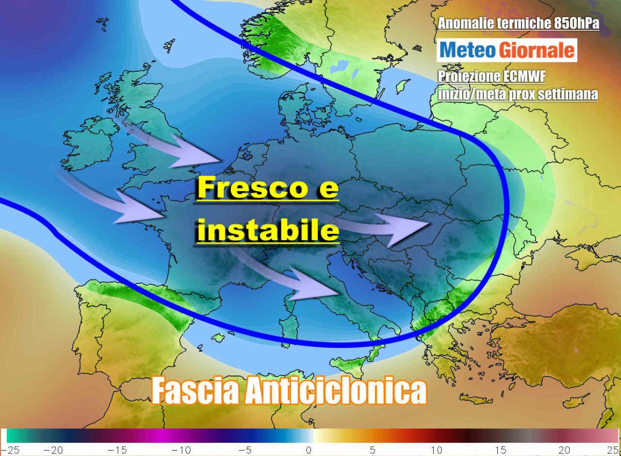 meteo instabile prox settimana - Meteo prossima settimana fresco e maltempo, prima di una possibile svolta