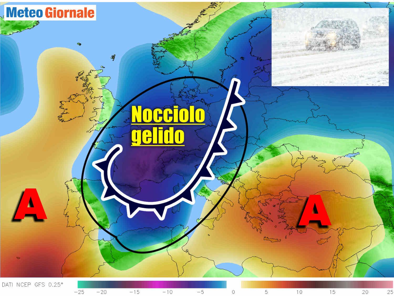 meteo lungo termine rischio freddo - Meteo con BRUTTO e INSOLITO nocciolo d'aria FREDDA vagante per l'Europa